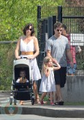 Jeff Gordon and Ingrid Vandebosch with Leo and Ella in St