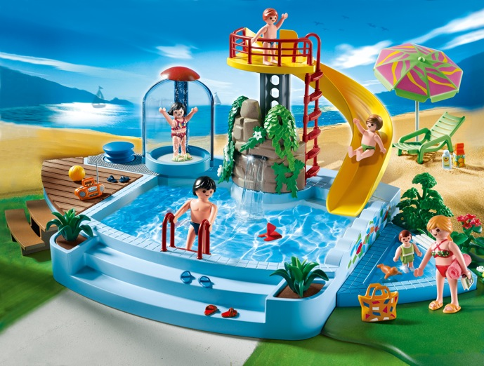 4858 playmobil pool with water slide growing your baby for Playmobil 4858 piscine avec toboggan