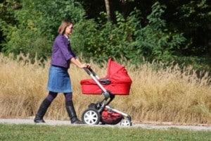 New mom strolling