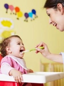 Baby eating food