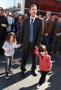 Adam Sandler with daughters Sunny (l) and Sadie (r)