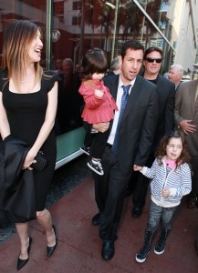 Adam Sandler with wife Jackie and daughters Sunny (l) and Sadie(r)