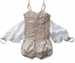 BONNIE- Girl's winged plain or striped strappy culotte-suit 2