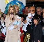 Celine Dion with husband Rene Angelil, and sons Rene, Eddy and Nelson