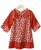 INGRID- Girls'viscose three quarter sleeved bird print dress
