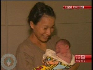 Akiko Pruss with her new baby