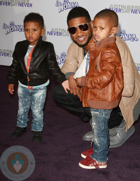 Italian Boy Name: Usher With His Sons Usher Raymond V And Naviyd Ely Raymond