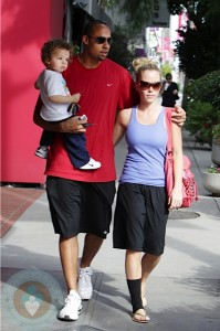 Kendra Wilkinson with husband Hank Baskett and son Hank