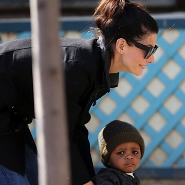 Sandra Bullock Enjoys A Park Play With Louis!