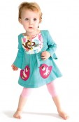 Bird Pocket Turquoise Bib Dress