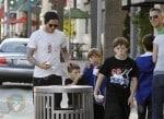David Beckham with sons Brooklyn, Romeo and Cruz