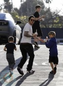 David Beckham with sons Brooklyn, Romeo and Cruz