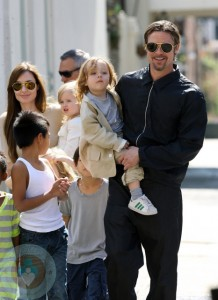 The Jolie-Pitt Family walk to the store in New Orleans