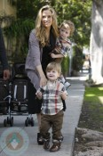 Brooke Mueller with sons Bob and Max Sheen