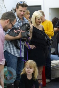 Tori Spelling with husband Dean and daughter Stella