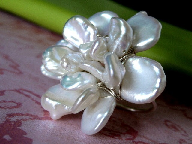 Superbe Mu Yin Jewelry  Gardenia Blossom Cocktail Ring