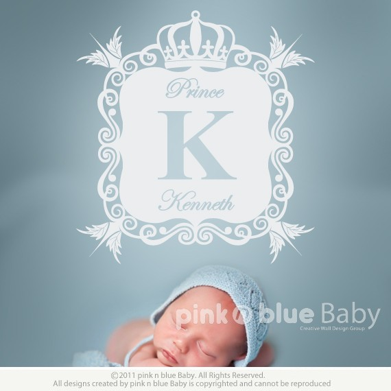pink n blue baby - elegant script custom name & ornate frame wall