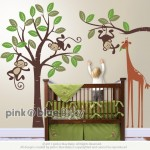 Pink N Blue Baby - Monkey and giraffe - Kids Removable Wall Vinyl Decal