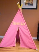 nickmaxmama - Bubble Gum Pink and Sunny Yellow Personalized Teepee