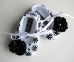 Baby Blush Boutique - Black & White Floral Baby Soft Ballerina Slippers