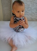 Baby Blush Boutique - Floral Black & White Top Tutu Set