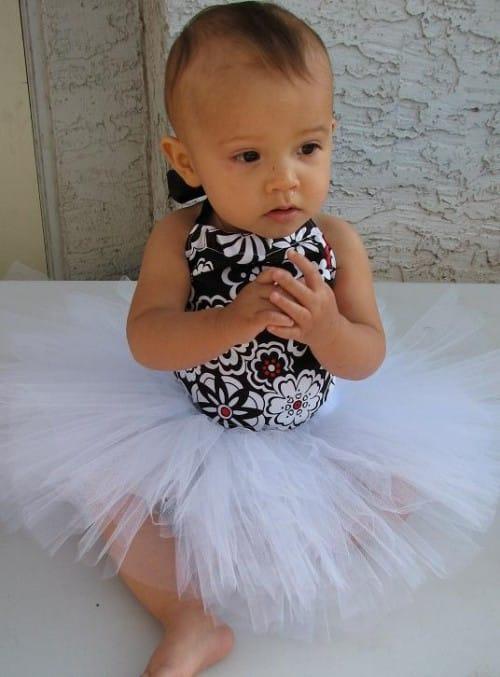 Baby Blush Boutique - Floral Black & White Top Tutu Set