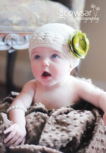 Celeste & Company - Ivory Beanie with Sage Green Flower with Rhinestone Cluster Center