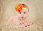 Celeste & Company - Orange Flower with Pearl Center on White Nylon Headband - Interchangeable.