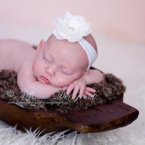 Celeste & Company - Small White Flower with Nylon Headband