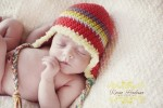 Citefuzz - Crochet Earflap Hat- Retro Red Rainbow- with fur trim
