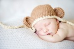 Citefuzz - Organic Cotton Chunky Mini monkey Flap Hat Pecan with Almond Trim