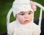 Citefuzz - Organic Cotton Flapper Baby Hat Cream with Cherry Blossom Flower