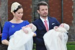 Crown Princess Mary and Crown Prince Frederik of Denmark pose with their twins Prince Vincent and Princess Josephine