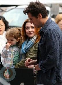 Alyson Hannigan and Alexis Denisoff with daughter Satyana