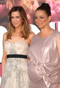 Kristin Wiig with Maya Rudolph at the Premiere of Bridesmaids