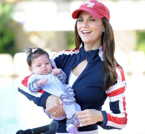 Samantha Harris takes her newborn daughter Hillary Hess