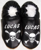 Soft Soul Baby Shoes - Moxies handmade soft leather baby booties black with crossbones and your babys name