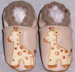 Soft Soul Baby Shoes - handmade soft soled ALL leather boy girl shoes giraffe