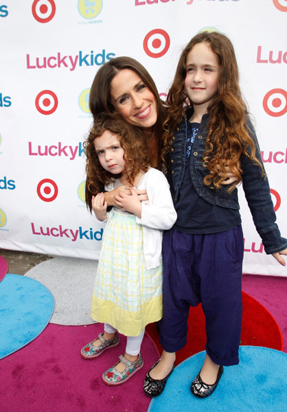 Soleil Moon Frye with daughters JaggerL and PoetR Little Capers sells kid sized caped crusader suits for your junior underwear ...