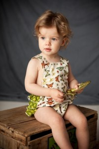 The Measure - Butterfly vintage-inspired sun suit romper, with green dot ruffles