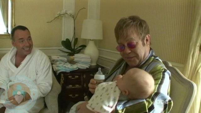 Elton John And David Furnish With Son Zachary Jackson