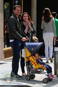 Alyson Hannigan, Alexis Densiof and daughter Satyana in NYC