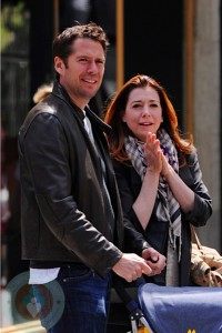 Alyson Hannigan and husband Alexis Densiof in NYC