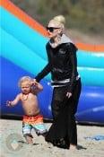 Gwen Stefani with son Zuma at the Beach