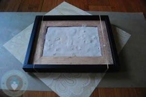 DIY Framed Hand-footprint - plaster is setting