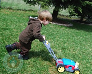 My youngest pushing the FP bubble mower