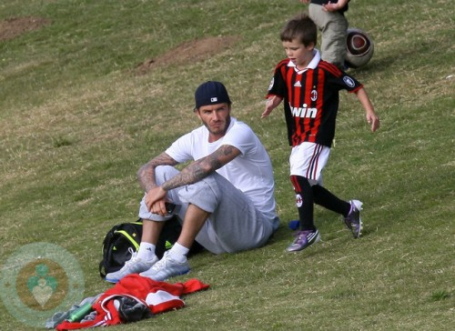David Beckham with son Cruz at Soccer Practice