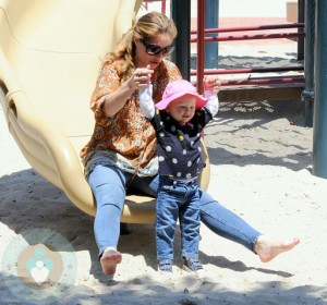 Rebecca Gayheart at the park with Billie