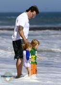 Dean McDermott and kids Liam and Stella at the beach