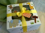 Little Elephant & Co. - sample picture of decorated box (inside 2 onesie & triple washcloth cupcake set)